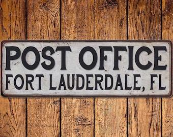 Fort Lauderdale, Fl Post Office Vintage Look Metal Sign Chic Retro 6182200