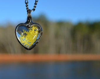 Moss Terrarium Jewelry, Gift for Nature Lover, Heart Terrarium Jewelry, Moss Terrarium Necklace, Moss Heart, Nature Gift (2256)