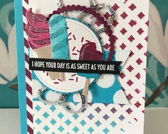 Stampin up Blue and Purple Ice Cream Treats Birthday  Card