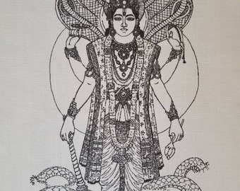 Vishnu fabric, hand printed Vishnu on fabric, Vishnu prayer flag, Vishnu fabric print, Vishnu, Hindu God, prayer flag