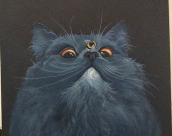 "grey cat painting ""Wellington"""