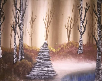 Forest and Lake Painting (Bob Ross Inspired)