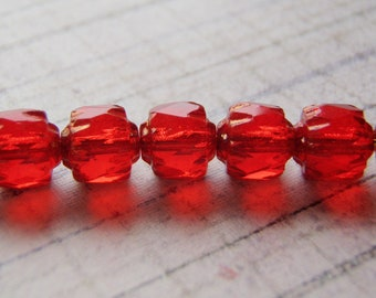 Red Cathedral Beads Czech Glass 6mm Crown 20 Beads