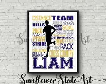 Personalized Cross Country Poster, Gift For Runners, Running Gift Ideas, Runner Marathon Gift Art, Typography, Cross Country Team Gift