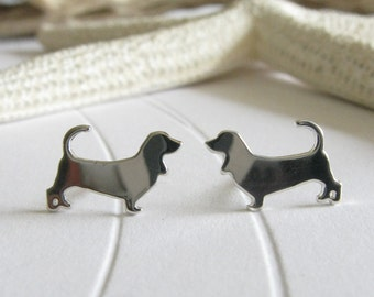 Basset Hound post earrings. Small dog silhouette jewelry. Sterling silver, 14k gold filled or solid gold studs. Gift animal lover. Simple.