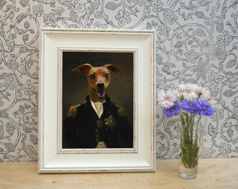 Red Dog dressed as Nelson Framed Pet Portrait Print