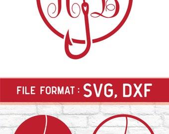 Fishing SVG Files, Logo Fishing Monogram SVG Files, Hobbies Fishing Hook Svg Cut File for Cricut Machine, Fishing SVG Files Instant Download