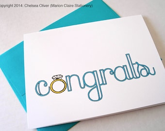 Engagement Card - Wedding Card - Ring Congrats