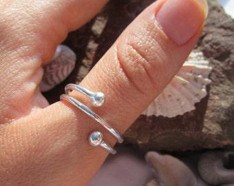 Sterling Silver Twist Thumb Ring - Handmade