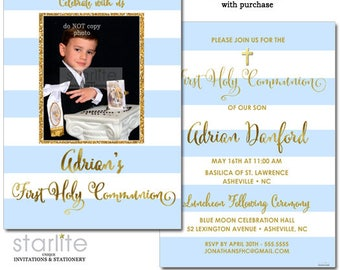Photo First Communion Invitation Boy, Boy First Communion Photo Invitation Blue and Gold, 1st Communion Invite Boy Printable, Printed