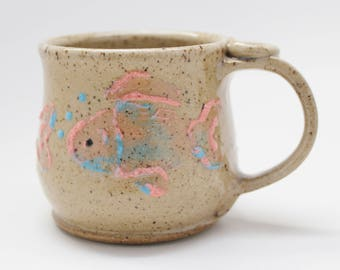 Fish Mug, Ready To Ship, Pink and Blue Fish Mug
