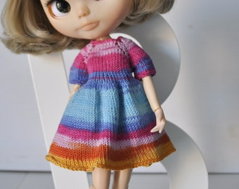 Knitted cotton dress for Blythe, Pullip doll, summer,rainbow, blue,pink,sale