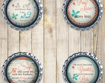 Bible verse magnets - Be still and know - Pray more, worry less - Coral and turquoise - Set of 4 - Friendship gifts - Christian gifts