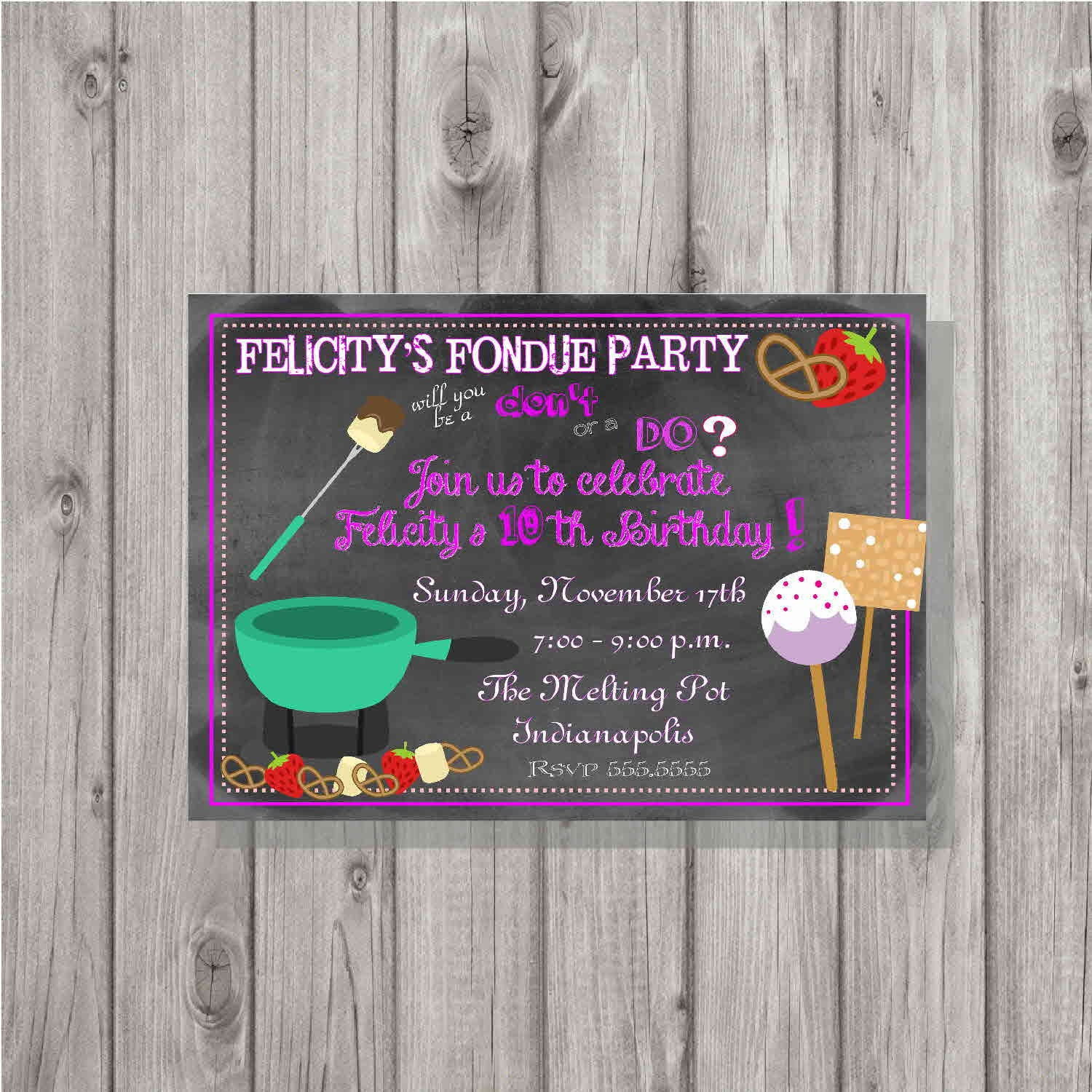 Digital Chalkboard Style Fondue Birthday Party Invitation