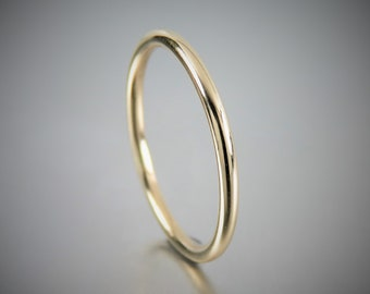 SOLID 14K Round Wire Yellow Gold Engagement Ring, 14K Solid Yellow Gold Ring 1.5 mm, Promise Rings, Wedding Rings