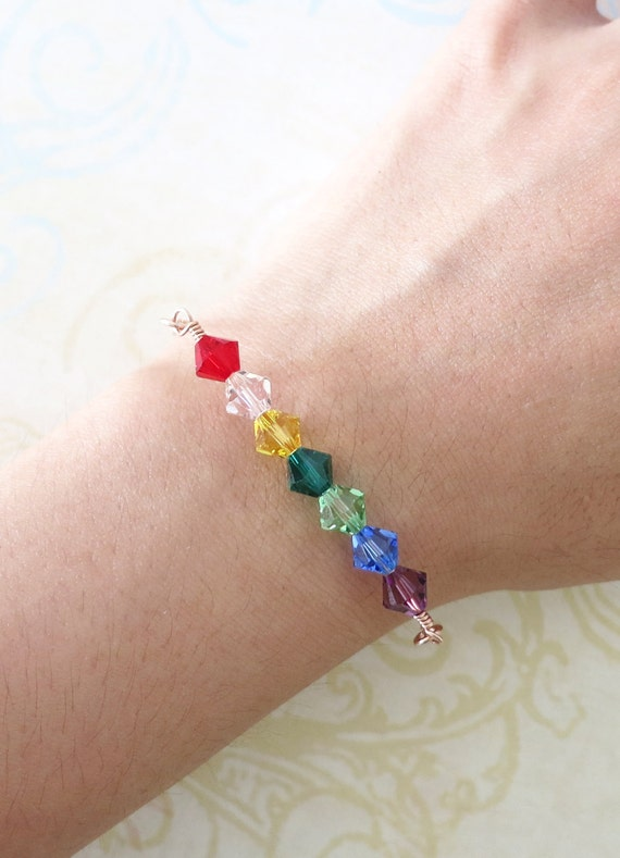 Simple Rainbow Beads on Rose Gold Bracelet - rose gold filled, Rainbow Color Swarovski Beads, Red, Orange, Yellow, Green, Blue, Purple