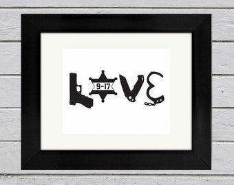 Personalized Deputy Sheriff LOVE Print | Law Enforcement Gift | Sheriff Wife | Sheriff Girlfriend | Anniversary Gift | Wedding Gift