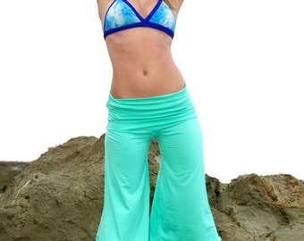 SEAFOAM WIDE LEG rayon palazzo seafoam green gaucho resort yoga lounge beach capri pant (calf length) pants with fold over skirt  waist