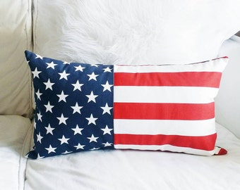 Modern Stars and Stripes Lumbar Pillow Cover - Red, White and Blue - 12x20