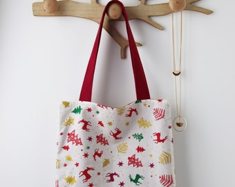 Noël Tote bag cotton bag is lined to offer