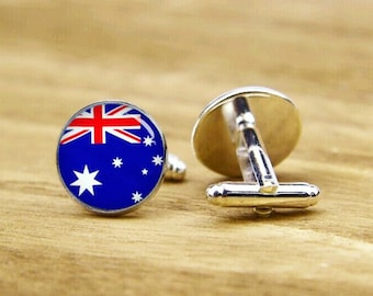flag of Australia cufflinks, custom national flag cufflinks, patriot cufflinks, round glass, square cufflinks, tie clip or a matching set