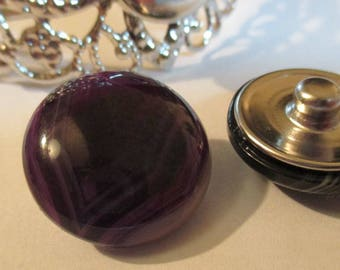 ~ ~ NEW ~ ~ snap agate purple 18 mm