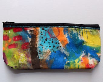 Canvas zip pouch - hand painted pencil makeup bag ZPG02