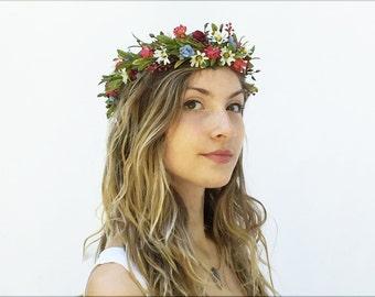 Wildflower Flower Crown, Bridal Headpiece, Woodland Wedding, Rustic Floral Crown, Bohemian Bride, Flower Hair Wreath, Wildflowers, Boho