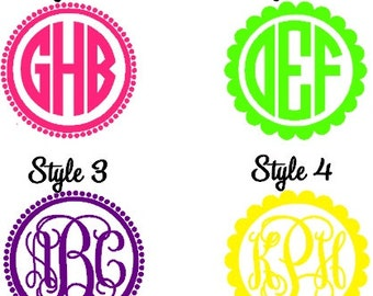 "Monogram 7"" Vinyl Car Decal - Personalized Initial Decal - Dot and Scalloped Frame"