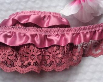 Ruffled Lace , 2+1/4 inch wide Dusty Rose/Dusty Rose selling by the yard