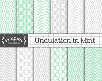 Mint and Grey Digital Paper, Commercial Use, Scrapbook Papers, Background, Geometric Digital Paper, Art Deco, 1920's, Instant Download