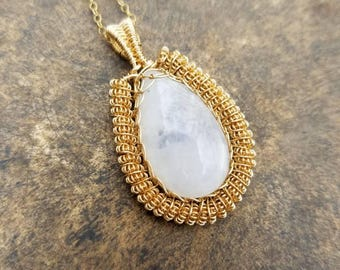 14K Gold-Filled Rainbow Moonstone Pendant, Wire Wrapped Artwear, Handcrafted with 14K Gold-Filled Wire.