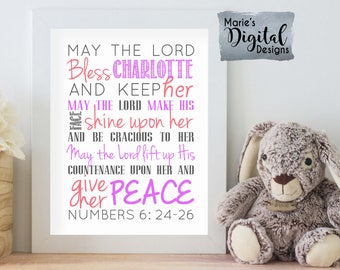 PRINTABLE Personalized Baptism Gift - Baby Girl Wall Art - Bible Quote Subway Art / May The Lord Bless This Child Scripture Numbers 6: 24-26