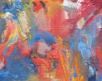 Tropic of Capricorn ABSTRACT Painting 9 x 12 ORIGINAL landscape orange blue summer