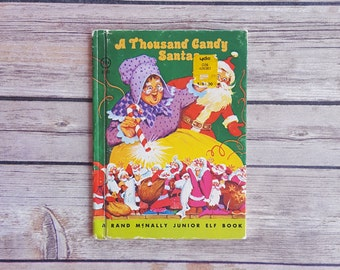 Santa Clause Book A Thousand Candy Santas Children's Book Mrs Clause Story Junior Elf Book Vintage Xmas Story Santa Clause Christmas Gift