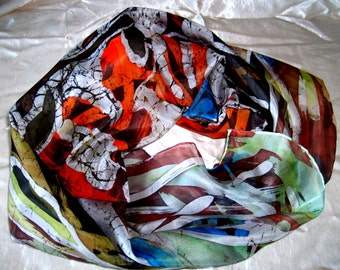 Hand Painted 100%Silk hot batik shawl Coralreef.Silk Scarf. FREE SHIPPING