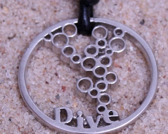 Scuba Diving Jewelry Scuba Gear Pewter Pendant Round Design By ZulaSurfing Gift  Now 12% off