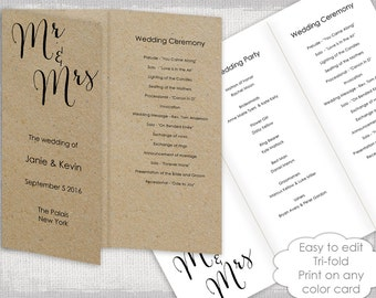 wedding programs template trifold rustic bombshell diy printable order of ceremony order of day you edit word instant digital download