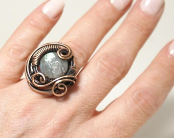 Labradorite Ring, Copper Labradorite Ring, Copper Wire Ring, Labradorite Jewelry, Wire Wrapped Ring, Gift for Mom, Copper Jewelry