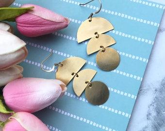 Geometric Circular Drop Earrings |  Gold & Brass