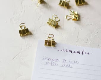 Gold Mini Metal Binder Clips - 20 pc