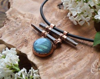 "Copper Pendant handmade ""full Moon"" labradorite and smoky quartz."