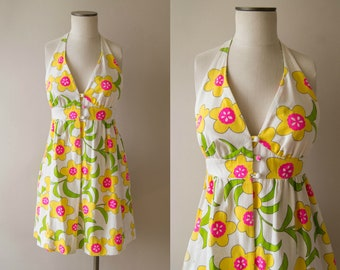 vintage 1960s dress / 60s Hawaiian mini dress / small / Nalli Dress