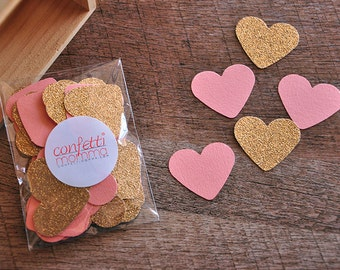 Bridal Brunch Party Decor.  Handcrafted in 2-5 Business Days. Bridal Shower Decorations. Coral and Gold Heart Confetti 50CT.