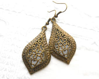 bronze filigree pendant earrings filigree earrings gypsy earrings boho chic earrings boho jewelry boho earrings filigree teardrop
