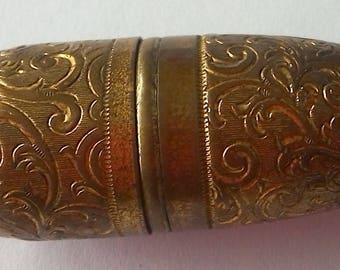 Vintage Brass Thimble Sewing Needle Case