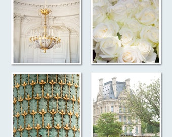 Paris Photo Set - Four Fine Art Photographs of Paris, Roses, The Louvre, Chandelier, Wall Decor, Large Wall Art