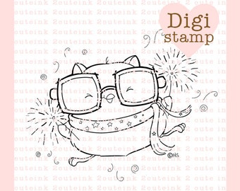 Owl Sparklers Digital Stamp for Card Making, Paper Crafts, Scrapbooking, Hand Embroidery, Invitations, Stickers, Coloring Pages