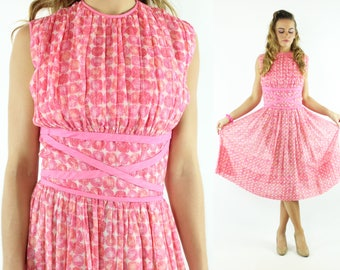 Vintage 50s Full Dress Pink Dot Cotton Gauze Empire Waist Sleeveless Sundress 1950s Small S Pinup Rockabilly