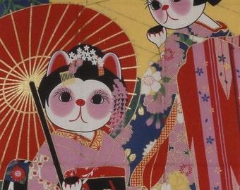 Kawaii Fabric Maneki Neko Maiko Apprentice Geisha Motif Beckoning Cat Japanese Tenugui Cat Fabric w/Free Insured Shipping